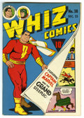 Golden Age (1938-1955):Superhero, Whiz Comics #38 Mile High pedigree (Fawcett, 1942) Condition: VF+. Nice cover whites and a superb spine characterize this Mi...