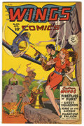 Golden Age (1938-1955):Adventure, Wings Comics #104 Mile High pedigree (Fiction House, 1949) Condition: NM. Bob Lubbers cover. Overstreet 2006 NM- 9.2 value =...