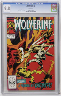 Wolverine #9 (Marvel, 1989) CGC NM/MT 9.8 White pages. Gene Colan cover and art. Overstreet 2006 NM- 9.2 value = $10. CG...
