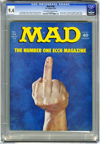 Mad #166 (EC, 1974) CGC NM 9.4 Off-white to white pages. Controversial cover which many newsdealers refused to display a...