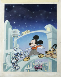 Cyril Jordan - Gladstone Comic Album #17 Cover Original Art (Gladstone, 1989). Mickey Mouse and Pluto encounter one of P...