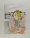 Fine Art - Painting, American:Other , CHARLES LEVIER (American 1920 - ). Lady In Fur. Watercoloron paper. 28 x 21in. (image size). Signed lower left. From th...