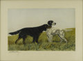 Prints:European Modern, LEODANCHIZ. Dog Hunt, c.1952. Print, numbered 219/500. 15 x24in.. Signed lower left in pencil. Inscription upper right:...