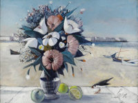 CHARLES LEVIER (American 1920 - ) Flower Still Life Oil on canvas 30 x 40in. Signed lower left Inscribed verso with