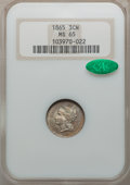 Three Cent Nickels: , 1865 3CN MS65 NGC. CAC. NGC Census: (132/16). PCGS Population(95/38). Mintage: 11,382,000. Numismedia Wsl. Price for probl...