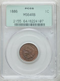 Indian Cents: , 1886 1C Type One MS64 Red and Brown PCGS. PCGS Population (138/44).NGC Census: (146/91). Mintage: 17,654,290. Numismedia W...