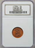 Indian Cents: , 1904 1C MS65 Red NGC. NGC Census: (256/52). PCGS Population(195/64). Mintage: 61,328,016. Numismedia Wsl. Price for proble...