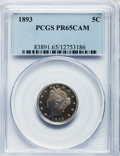 Proof Liberty Nickels: , 1893 5C PR65 Cameo PCGS. PCGS Population (26/37). NGC Census:(68/68). ...
