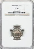 Proof Shield Nickels: , 1883 5C PR62 NGC. NGC Census: (26/970). PCGS Population (51/1117).Mintage: 5,419. Numismedia Wsl. Price for problem free N...
