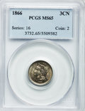 Three Cent Nickels: , 1866 3CN MS65 PCGS. PCGS Population (68/21). NGC Census: (66/55).Mintage: 4,801,000. Numismedia Wsl. Price for problem fre...