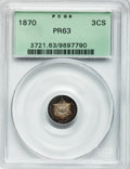 Proof Three Cent Silver: , 1870 3CS PR63 PCGS. PCGS Population (100/136). NGC Census:(43/150). Mintage: 1,000. Numismedia Wsl. Price for problem free...