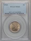 Liberty Nickels: , 1910 5C MS65 PCGS. PCGS Population (79/12). NGC Census: (71/12).Mintage: 30,169,352. Numismedia Wsl. Price for problem fre...