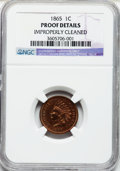 Proof Indian Cents, 1865 1C -- Improperly Cleaned -- NGC Details. Proof. NGC Census:(0/60). PCGS Population (0/20). Mintage: 500. Numismedia W...