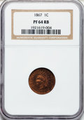Proof Indian Cents: , 1867 1C PR64 Red and Brown NGC. NGC Census: (112/90). PCGSPopulation (86/37). Mintage: 625. Numismedia Wsl. Price for prob...