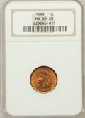 Indian Cents: , 1899 1C MS65 Red and Brown NGC. NGC Census: (376/69). PCGSPopulation (123/5). Mintage: 53,600,032. Numismedia Wsl. Price f...