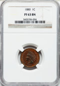 Proof Indian Cents: , 1880 1C PR63 Brown NGC. NGC Census: (40/120). PCGS Population(12/41). Mintage: 3,955. Numismedia Wsl. Price for problem fr...