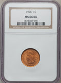 Indian Cents: , 1906 1C MS66 Red NGC. NGC Census: (70/2). PCGS Population (17/1).Mintage: 96,022,256. Numismedia Wsl. Price for problem fr...