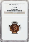 Proof Indian Cents: , 1873 1C Closed 3 PR64 Red and Brown NGC. NGC Census: (73/59). PCGSPopulation (145/39). Mintage: 1,100. Numismedia Wsl. Pri...