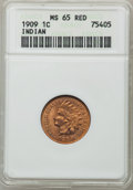 Indian Cents: , 1909 1C MS65 Red ANACS. NGC Census: (506/60). PCGS Population(617/157). Mintage: 14,370,645. Numismedia Wsl. Price for pro...