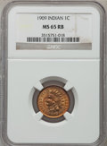 Indian Cents: , 1909 1C MS65 Red and Brown NGC. NGC Census: (434/50). PCGSPopulation (150/6). Mintage: 14,370,645. Numismedia Wsl. Price f...