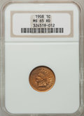 Indian Cents: , 1908 1C MS65 Red NGC. NGC Census: (284/68). PCGS Population(227/42). Mintage: 32,327,988. Numismedia Wsl. Price for proble...