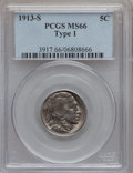 Buffalo Nickels: , 1913-S 5C Type One MS66 PCGS. PCGS Population (123/19). NGC Census:(54/15). Mintage: 2,105,000. Numismedia Wsl. Price for ...