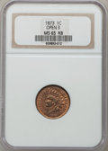 Indian Cents: , 1873 1C Open 3 MS65 Red and Brown NGC. NGC Census: (120/4). PCGSPopulation (55/3). Mintage: 11,676,500. Numismedia Wsl. Pr...