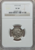 Buffalo Nickels: , 1915-S 5C VF30 NGC. NGC Census: (16/540). PCGS Population (19/875).Mintage: 1,505,000. Numismedia Wsl. Price for problem f...