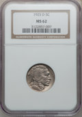 Buffalo Nickels: , 1925-D 5C MS62 NGC. NGC Census: (76/415). PCGS Population (71/608).Mintage: 4,450,000. Numismedia Wsl. Price for problem f...