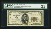 Fr. 1850-K* $5 1929 Federal Reserve Bank Note. PMG Very Fine 25