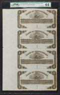 Canadian Currency: , St. John's, NF- Island of Newfoundland $1 1850 Ch # NF-1 UnsignedRemainder Sheet of Four. ...
