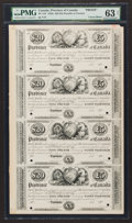 Canadian Currency: , PC-1eP Provincial Debenture $20 (£5) 185_ Proof Uncut Sheet. ...