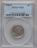 Buffalo Nickels: , 1926-S 5C VF20 PCGS. PCGS Population (248/960). NGC Census:(183/860). Mintage: 970,000. Numismedia Wsl. Price for problem ...