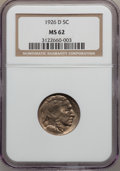 Buffalo Nickels: , 1926-D 5C MS62 NGC. NGC Census: (151/361). PCGS Population(198/727). Mintage: 5,638,000. Numismedia Wsl. Price for problem...