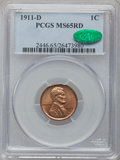 Lincoln Cents: , 1911-D 1C MS65 Red PCGS. CAC. PCGS Population (141/20). NGC Census:(54/4). Mintage: 12,672,000. Numismedia Wsl. Price for ...