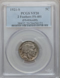 Buffalo Nickels, 1921-S 5C VF20 PCGS. 2 Feathers, FS-401 (FS-016.635). PCGSPopulation (112/780). NGC Census: (78/543). Mintage: 1,557,000. ...