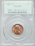 Lincoln Cents: , 1927-D 1C MS64 Red PCGS. PCGS Population (179/54). NGC Census:(106/20). Mintage: 27,170,000. Numismedia Wsl. Price for pro...