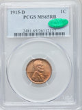 Lincoln Cents: , 1915-D 1C MS65 Red and Brown PCGS. CAC. PCGS Population (38/1). NGCCensus: (130/0). Mintage: 22,050,000. Numismedia Wsl. P...