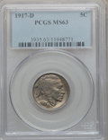 Buffalo Nickels: , 1917-D 5C MS63 PCGS. PCGS Population (187/484). NGC Census:(130/258). Mintage: 9,910,000. Numismedia Wsl. Price for proble...