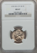 Jefferson Nickels: , 1939 5C Reverse of 1938 MS67 NGC. NGC Census: (391/2). PCGSPopulation (39/0). Mintage: 120,627,536. Numismedia Wsl. Price ...