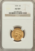 Three Dollar Gold Pieces, 1874 $3 AU58+ NGC....