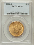 Indian Eagles: , 1914-S $10 AU58 PCGS. PCGS Population (185/427). NGC Census:(330/417). Mintage: 208,000. Numismedia Wsl. Price for problem...