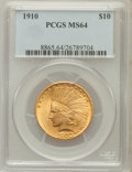 Indian Eagles: , 1910 $10 MS64 PCGS. PCGS Population (262/75). NGC Census:(429/149). Mintage: 318,500. Numismedia Wsl. Price for problemfr...