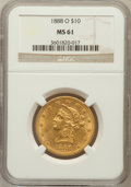 Liberty Eagles: , 1888-O $10 MS61 NGC. NGC Census: (244/153). PCGS Population(93/160). Mintage: 21,335. Numismedia Wsl. Price for problem fr...