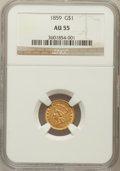 Gold Dollars: , 1859 G$1 AU55 NGC. NGC Census: (21/322). PCGS Population (23/250).Mintage: 168,244. Numismedia Wsl. Price for problem free...