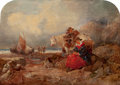 Fine Art - Painting, American, GEORGE TURNER (British, 1843-1910). Fisherman and Wife Loadingthe Catch on a Rocky Beach. Oil on wood panel. 10 x 14 in...