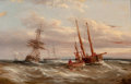 Fine Art - Painting, European:Other , ABRAHAM HULK (Dutch, 1813-1897). Off the French Coast. Oil on canvas. 13 x 20 inches (33.0 x 50.8 cm). Signed lower righ...