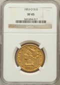 Liberty Eagles: , 1853-O $10 XF45 NGC. NGC Census: (51/181). PCGS Population (40/83).Mintage: 51,000. Numismedia Wsl. Price for problem free...