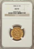 Liberty Half Eagles: , 1884-CC $5 AU55 NGC. NGC Census: (39/40). PCGS Population (17/13).Mintage: 16,402. Numismedia Wsl. Price for problem free ...