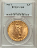 Saint-Gaudens Double Eagles: , 1916-S $20 MS64 PCGS. PCGS Population (1602/1258). NGC Census:(1426/945). Mintage: 796,000. Numismedia Wsl. Price for prob...